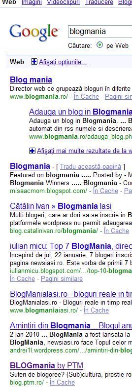 BLOGmania - locul 7 in cautarea Google