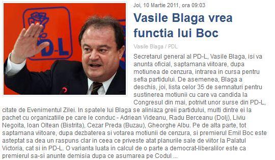 Vasile Blaga vrea funcția lui Boc