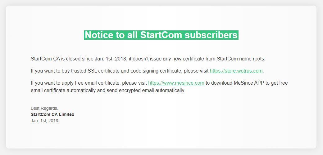 startcom shutdown